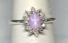 Vintage NOS 1970's Silver Linde Pink Star Sapphire/Genuine Diamond Ladies Ring