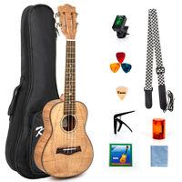 "Tenor Ukulele Kit Tiger Flame Okoume Ukulele 26"" with Classical Guitar Head"