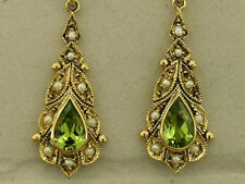 E118 Victorian style GENUINE 9ct Solid Gold NATURAL Peridot Pearl Drop Earrings
