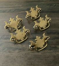 Lot of 5 Vintage Brass Chippendale Style Bat Wing Drawer Furniture Pulls
