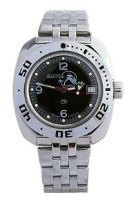 Vostok Amphibia 710634 Watch Scuba Dude Military Diver Russian Automatic Black