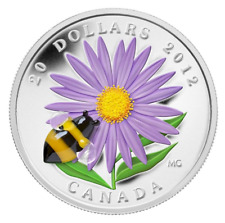 Fine Silver Coin - Aster with Venetian Glass Bumble Bee - Mintage: 10,000 (2012)