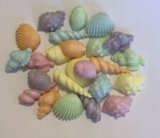 24 SEA SHELLS PASTEL EDIBLE SUGARPASTE ICING BIRTHDAY WEDDING CAKE TOPPERS