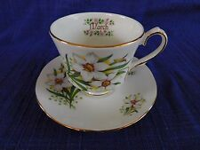 Duchess Bone China MARCH CUP & SAUCER White Flowers