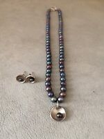 Artisan Rosie Brown Silver Pearl Boxed Necklace Earrings BNIB Mother's Day Gift