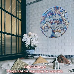 012 Tree of Life Round Metal Steel Flame Painted Hanging Wall Art Decoration