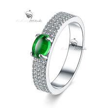 18k white gold gf Simulated Diamond ring green jade Emerald fashion