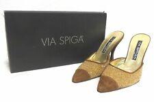 Via Spiga Stiletto Mules Shoes Size 6.5M Gold Camello Caviar Suede
