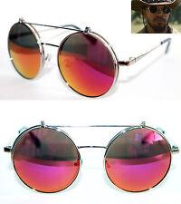 Django Round Flip Up Sunglasses Metal Silver Frame Purple Red Mirrored Lens