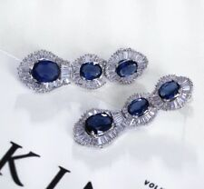 18k White Gold Long Earrings w Swarovski Sapphire Blue Baguette Stone Quality
