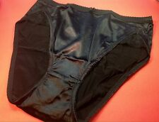 Women Panties,Briefs Bikinis Selina Size XXL Black Satin Silky W/Net&Decoration