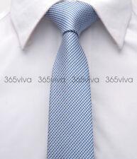Blue Silver Stripes Mens Skinny Slim Narrow Woven Silk 6.5 cm Wedding Tie