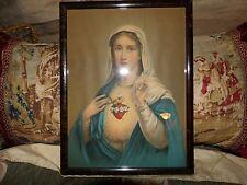 vintage blessed mother sacred heart framed print