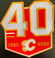 CALGARY FLAMES 40TH ANNIVERSARY TEAM PATCH 1979-2019 JERSEY STYLE NHL HOCKEY