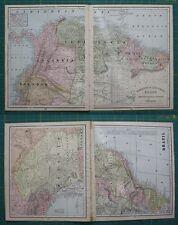 South American Countries Vintage Original 1897 Cram's World Atlas Map Lot