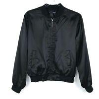 Brandy Melville Women's Full Zip Bomber Jacket Black Small or One Size
