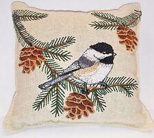 BALSAM FIR PILLOW embroidered CHICKADEE & PINECONES pine scented sachet lodge