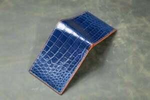 Handmade Blue Real Crocodile Alligator Belly Skin Leather Men's Bifold Wallet