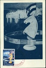 414747) Jugoslawien, roter SSt. Schach-Olympiade 1950 und Nr. 620 a. Maxikarte
