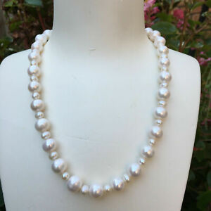Elegant 100% natural white freshwater 10-11&6-5mm pearl necklace 46cm DL130