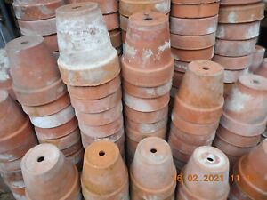 """VINTAGE TERRACOTTA CLAY POTS 4"""" 1930s-40s, no cracks, GREAT STURDY CUTTING POTS"""