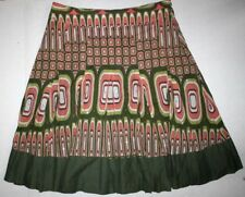 Bebe 100% Cotton Flared Skirt Lined Sequins Geometric Green Pink White Size XS