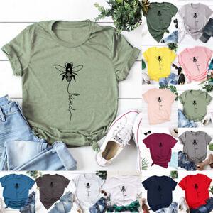 Womens T Shirt Summer Ladies Short Sleeve Blouse Bee Tee Holiday Casual Tops UK