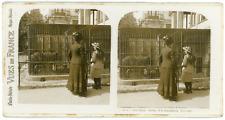 Stereo France, Paris, Jardin d'Acclimatation, Les ours, circa 1900 Vintage