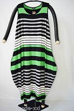 AKH Fashion: Lagenlook Ballon-Kleid, grün/grau/schwarz/weiss, one size 46-54 %%%