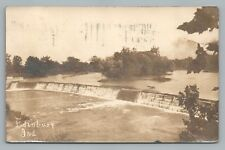 Edinburgh Indiana RPPC River Dam—Antique Photo—RARE Johnson Shelby County 1910s