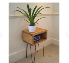 Handmade Bedside Table With Hairpin Legs In Reclaimed Wood Finish - Side Table -
