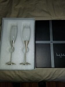 Pair Nicole Miller Wedding Toasting Stainless Silver Crystal Champagne Flutes