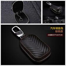 Brown Universal Genuine Leather Car Key Holder Men and Women Key Purse Key Case
