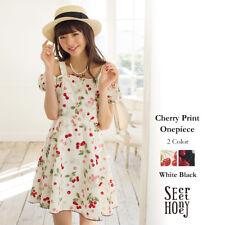 Genuine Secret Honey Cherry Print  One Piece Dress White BNWT