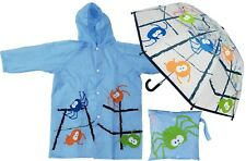 Spider Print Clear Umbrella + Raincoat Set - RainStoppers Children Kid Boy