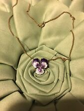 "Grandmas Estate Goldtone Chain Gold Filled Pansy Flower Necklace 18"" (3/17)"