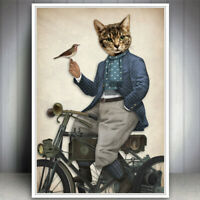 TABBY CAT KITTEN BIRD DRESSED DAPPER SUIT SCARF ART PRINT POSTER GIFT PRESENT