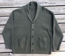 ORVIS Olive Green 100% Lambswool Knit Shawl Neck Cardigan Sweater Men's 2XL