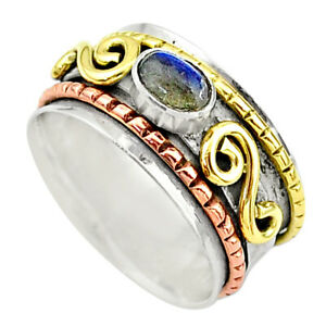1.17cts Natural Blue Labradorite 925 Silver Two Tone Spinner Ring Size 7 T12659