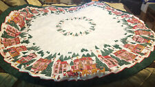 Vintage Christmas Holiday Tablecloth 65 Inches Round