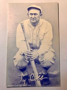 1980 Hall Of Fame Exhibits Red Ty Cobb Detroit Tigers Blue Card Not Graded