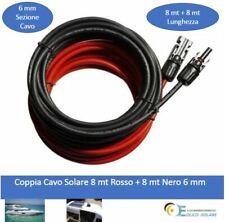 Coppia Cavo Solare 8mt Rosso + 8 mt Nero  da  6mm- Fotovoltaico Camper Nautic...