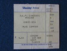 Chris Rea - Concert Tour Ticket - 1/11/87 - Wembley