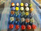 Vintage GLASS MABLES MOON ROCKS, SWIRL MILK, GUM BALLS, CRANBERRY ECT Lot Of 25