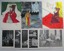 3 Amatuer Watercolors From Hamlet with 5 Perfection Learning Forms Posters 1960s