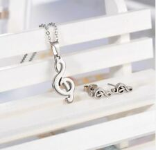STAINLESS STEEL TREBLE CLEF MUSIC NOTE NECKLACE EARRINGS SET