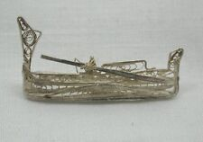 A Lovely Antique Silver Filigree Work traditional maltese fishing Boat Brooch