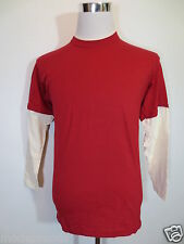 T-Shirt Fruit of the Loom Long Sleeve S Doppel-Optik Red Wine Red Ecru New / H6