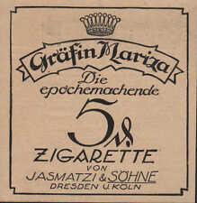 DRESDEN KÖLN, Werbung 1925, Jasmatzi & Söhne Gräfin Mariza Zigaretten