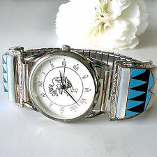 Kokopelli Man's Watch Native American Sterling Inlaid Turquoise Franck Yazzie